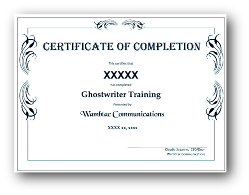 graphic ghostwriting certificate