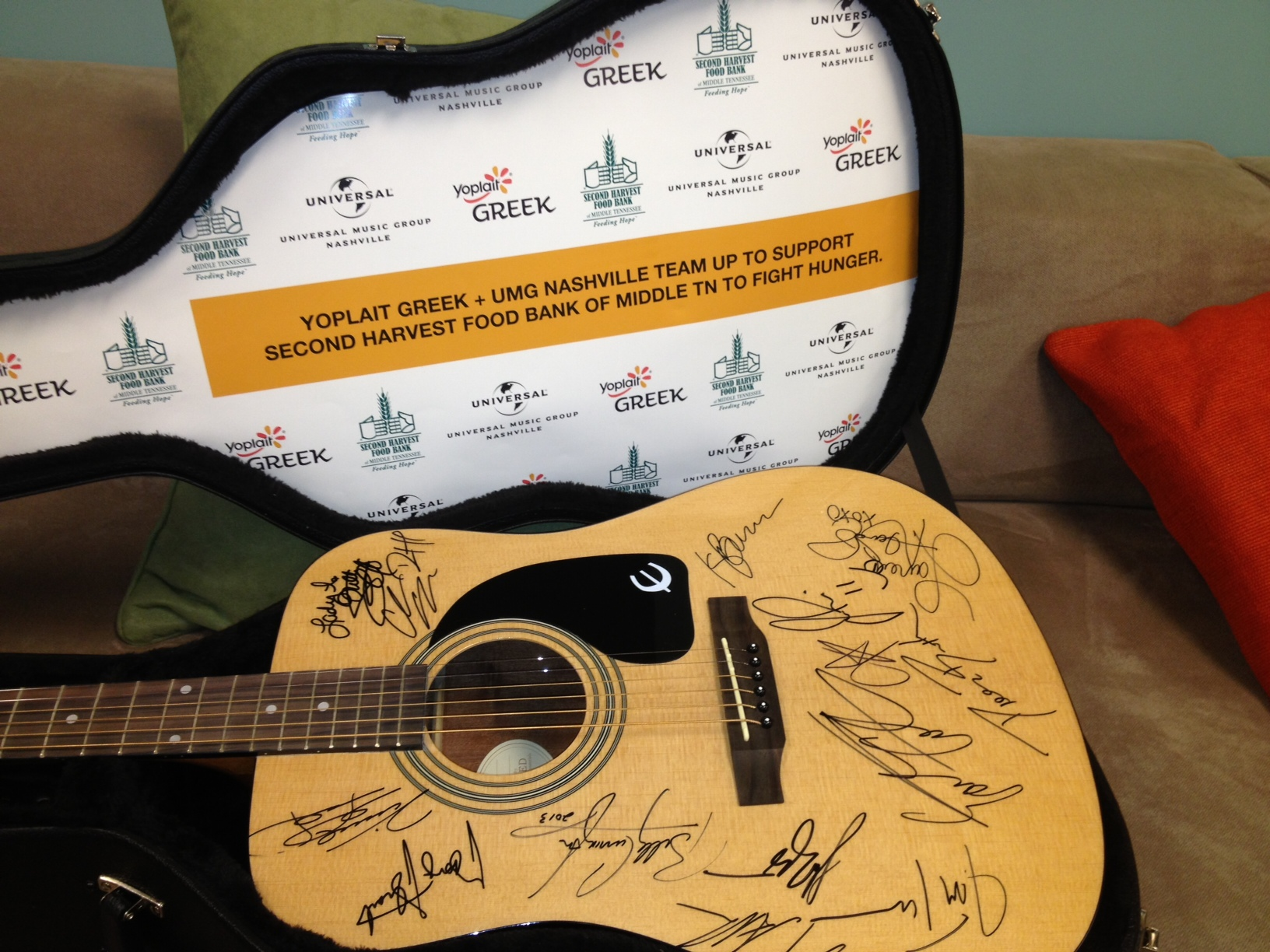 Signed Guitar - Yoplait Greek & Universal Music Group Nashville Team Up to Help Fight Hunger